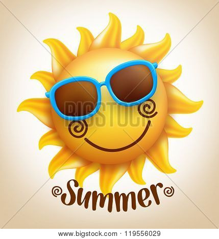 3D Realistic Happy Smiling  Cute Sun Vector with Colorful Sunglasses with Summer