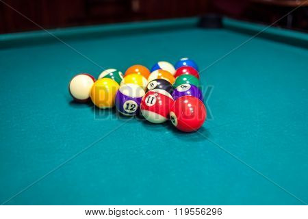 Billiard Balls On Pool Table, Pool Game