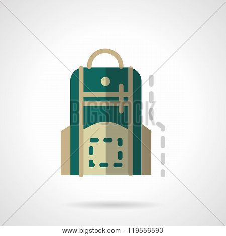 Green knapsack flat color design vector icon