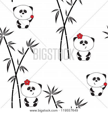 Seamless pattern, vector illustration, funny panda