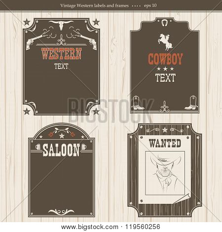 Set Of Western Backgrounds.vector Black Graphic Labels Isolated On White