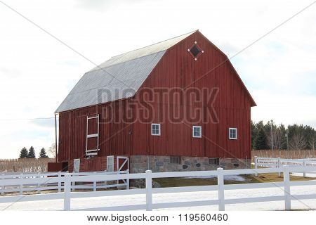 A red barn and fence.  Old Mission Peninsula, close to Traverse City, Michigan