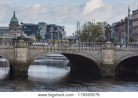 Dublin -january 12: Liffey River On January 12, 2015, Dublin.