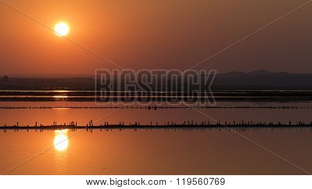 Sunset Over The Salt Lake