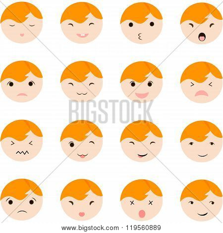 Set of cute baby faces showing different emotions, vector illustration icons.