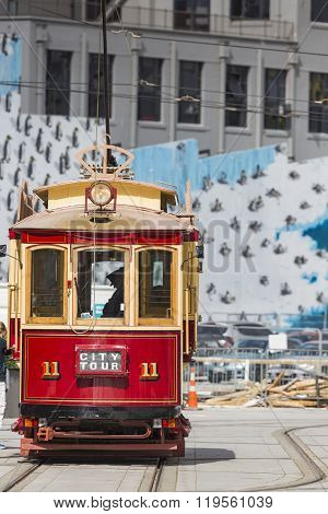 Christchurch - November 08 2014: Christchurch Tram Before Tramway System Was Damaged By The Christch