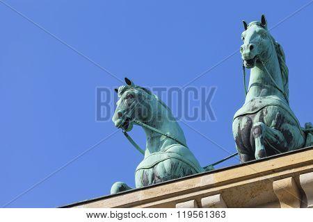 Berlin, Germany - April 11, 2014: The Quadriga On Top Of The Brandenburg Gate, Berlin