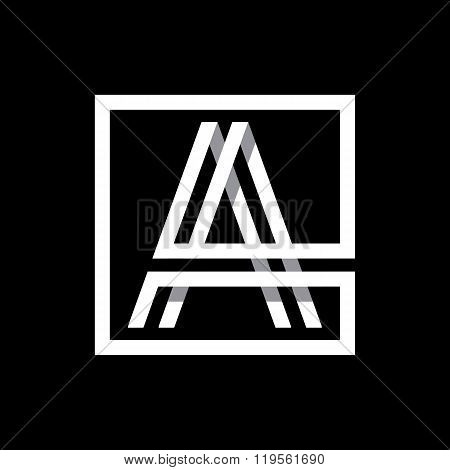 Capital letter A  . Overlapping with shadows monogram, logo, emblem.