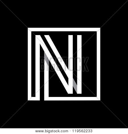 Capital letter N  . Overlapping with shadows monogram, logo, emblem.