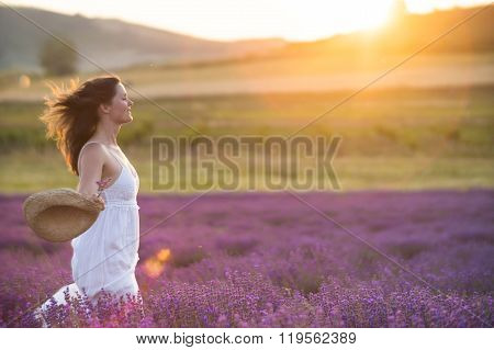 Running trough a field of lavender