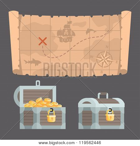 Treasure map and chest with gold