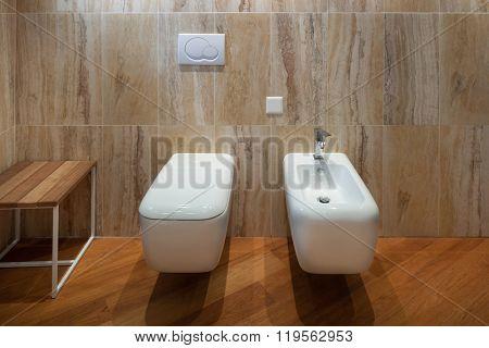Interior,  marble bathroom modern design, toilet and bidet