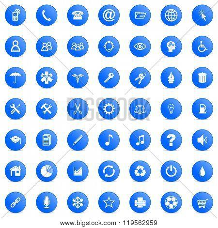 blue business cicrle glossy web icons set