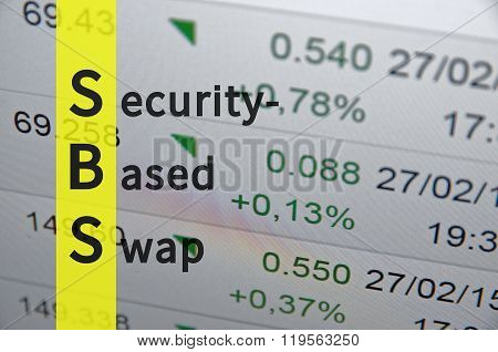 Acronym term SBS as Security Based Swap. Financial data visible on the background.