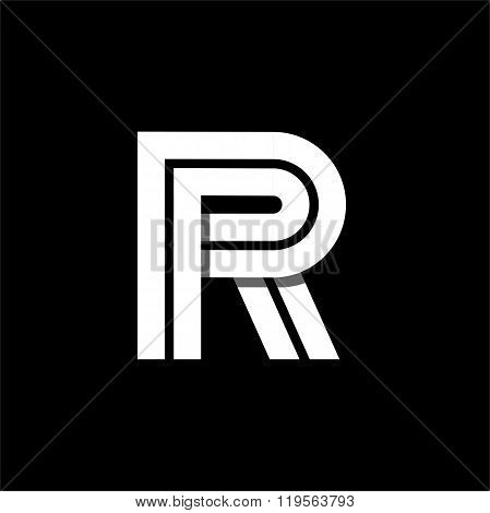 Letter R wide white stripes . Logo, monogram, emblem trendy design.