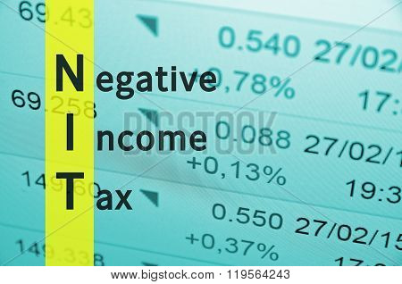 Acronym term NIT as Negative Income Tax. Financial data visible on the background.