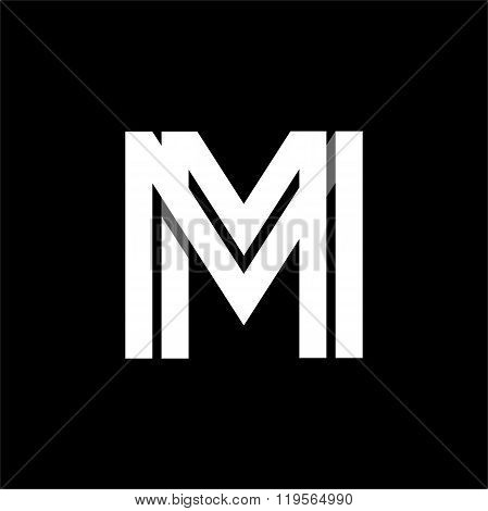Letter M wide white stripes . Logo, monogram, emblem trendy design.