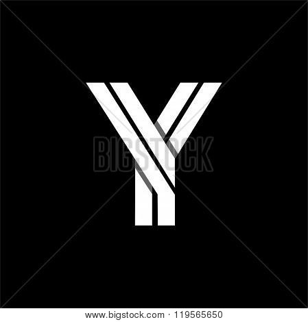 Letter Y wide white stripes . Logo, monogram, emblem trendy design.