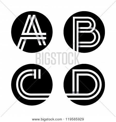 Capital letters A, B, C, D.  In a black circle.