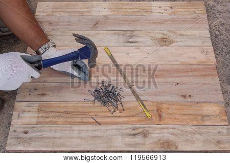 Carpentry Hammer Tack And Wood Floors Frame Design Background.