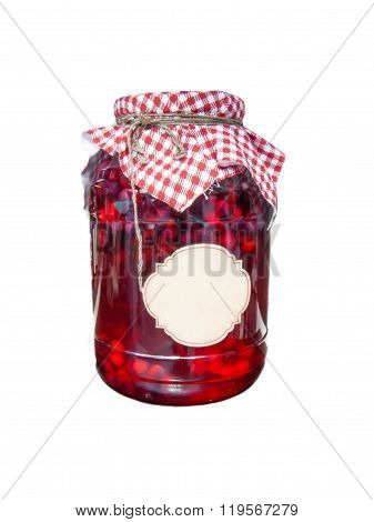 Compote In A Glass Jar With A Cover From Fabric