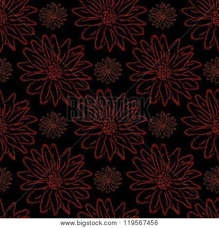 Floral Ornament On A Black Background,  Seamless Pattern.