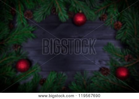 Christmas Frame With Fir Twigs And Baubles