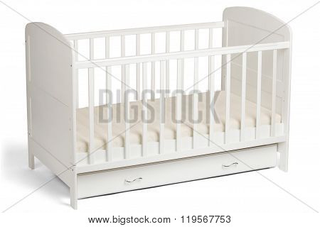 White Wooden Baby Crib Isolated On White Background