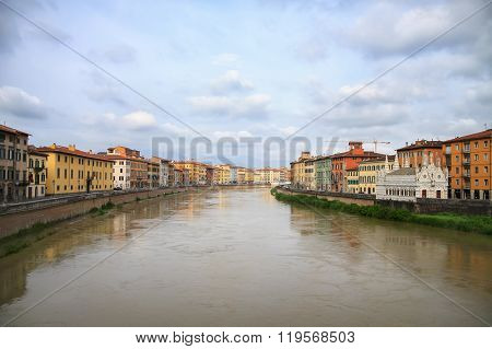 View To Pisa Town And The Aron River