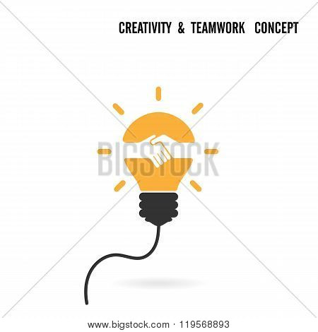 Creative Light Bulb Idea And Handshake Sign Concept Background.business Agreement Logo Design.teamwo