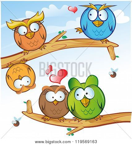 funny owl group cartoon on tree on sky background