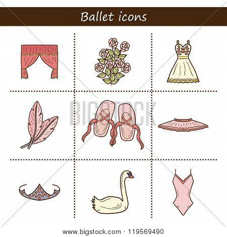 Cartoon objects on ballet theme