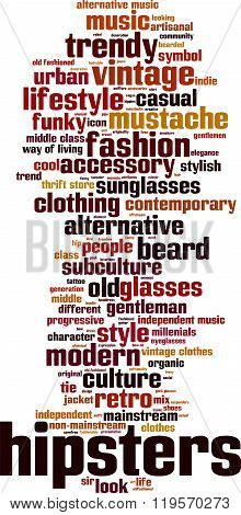 Hipsters word cloud concept. Vector illustration on white