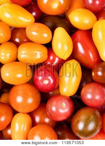Fresh Mixed Small Tomatoes In Filled Frame Format