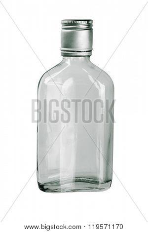 Empty Whiskey Bottle on White Background