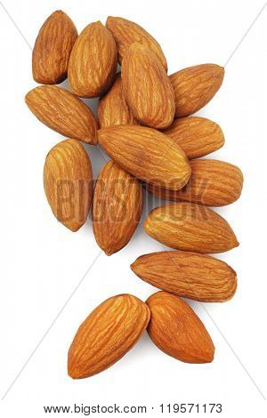 Fresh Almond Nuts on White Background