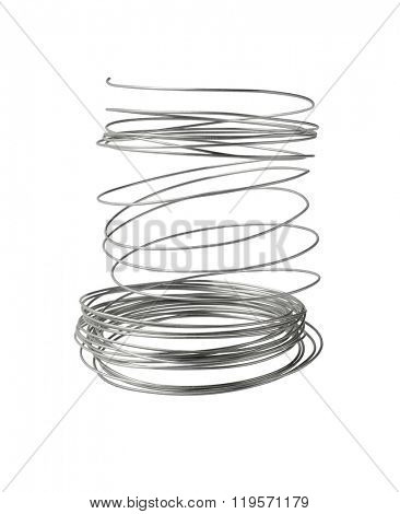 Loose Spool of Steel Wire on White Background