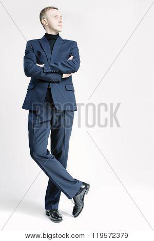 Business People Concepts And Ideas. Elegant Caucasian Businessman In Blue Suite
