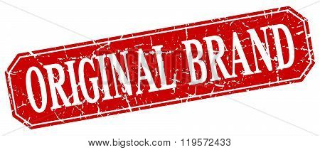 original brand red square vintage grunge isolated sign