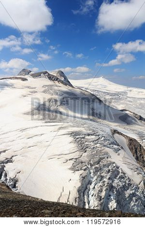 Mountain Glacier Panorama View With Summits Rainerhorn, Grossvenediger, Schwarze Wand And Kleinvened