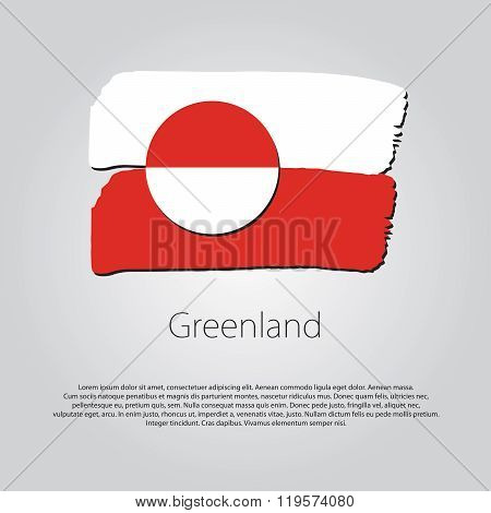 Greenland Flag With Colored Hand Drawn Lines In Vector Format