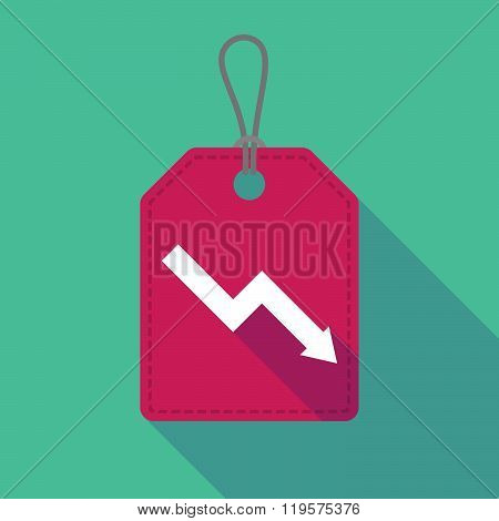 Long Shadow Label Icon With A Descending Graph