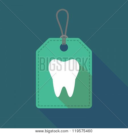 Long Shadow Label Icon With A Tooth