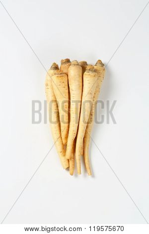bunch of fresh root parsley on white background