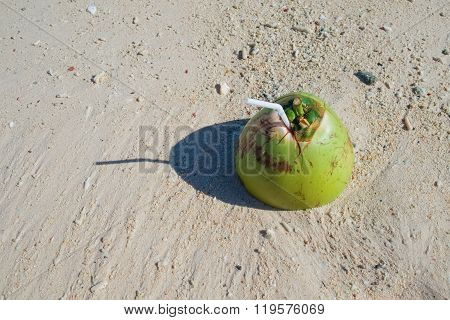 Coconut drink on tropical sandy beach