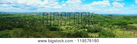 Panorama of Chocolate Hills in Philippines