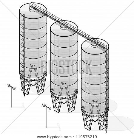 Grain silo, isometric wire building infographic on white background.