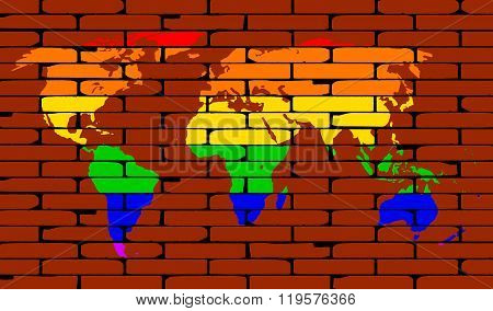 Lgbt World Map Rainbow Wall