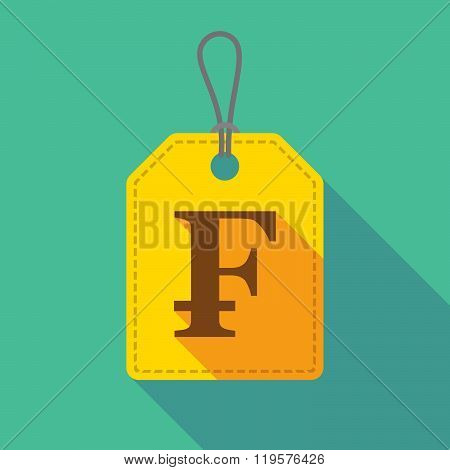 Long Shadow Label Icon With A Swiss Franc Sign