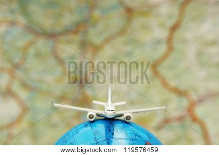 Concept of travel around the world by plane